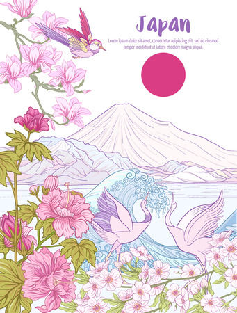Japanese Landscape with Mount Fuji, sea, and tradition flowers a