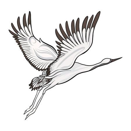 Dessin isolé de grue japonaise. Illustration vectorielle stock Banque d'images - 86486710