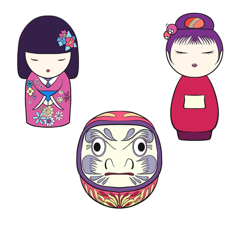 Traditional Japanese toys isolated drawing. Stock line vector il Ilustração