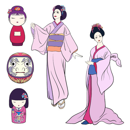 Set of two Young women in traditional Japanese kimono and tradit Illustration