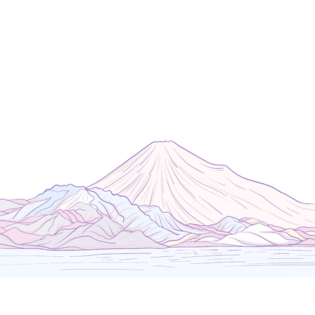 Mount Fuji isolated drawing. Stock vector illustration.