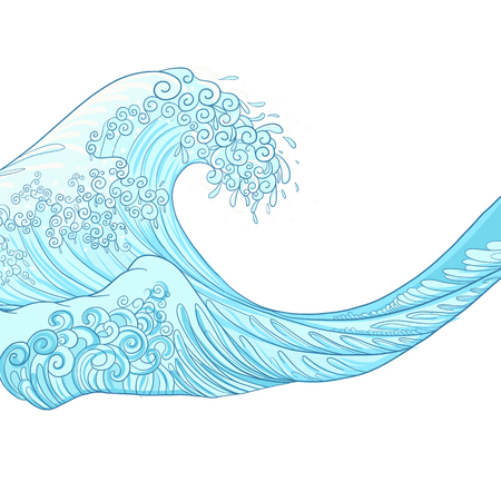 Japanese wave, isolated drawing. Stock vector illustration. Illustration