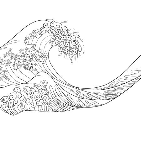 hokusai: Japanese wave, isolated drawing. Stock vector illustration. Illustration