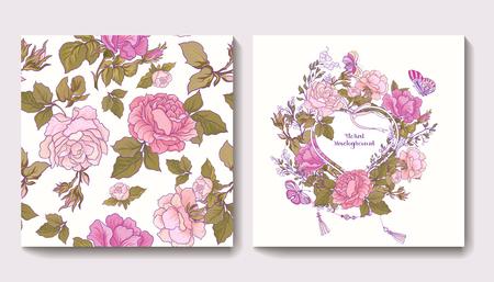 Set van naadloze patronen met roze bloemen en verjaardag of bruiloft kaarten met rozen groet. Voorraad vector.