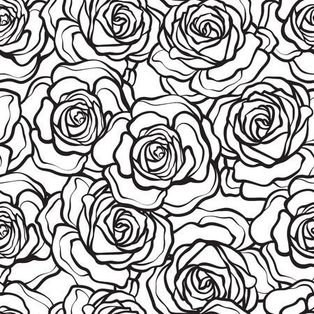 Rose flower seamless pattern. Outline black roses on white background. Stock vector.