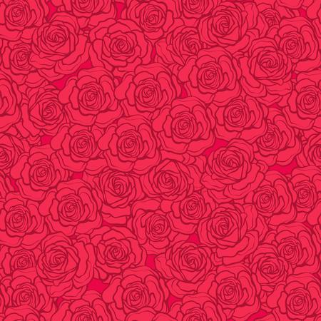 バラの花のシームレスなパターン。赤い背景の赤いバラ。株式ベクトル。