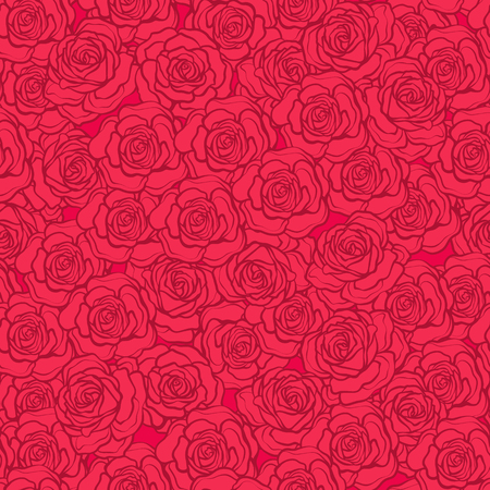 Rose flower seamless pattern. Red roses on red background. Stock vector. Illustration