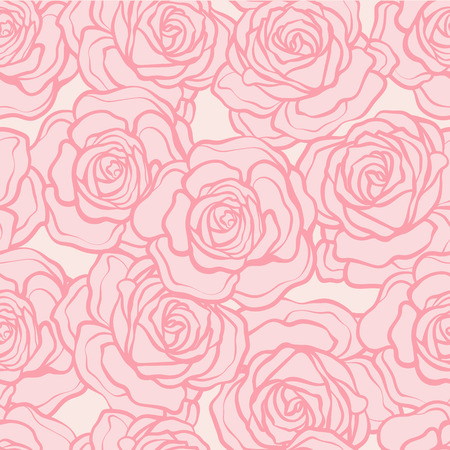 Rose flower seamless pattern. Pink roses on pink background. Stock vector. Illustration