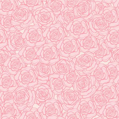 バラの花のシームレスなパターン。ピンクの背景にピンクのバラ。Sto  イラスト・ベクター素材