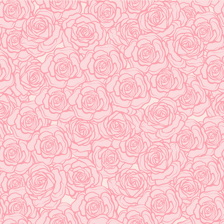 Rose flower seamless pattern. Pink roses on pink background. Sto