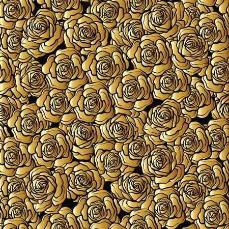 Rose flower seamless pattern. Gold roses on black background. St