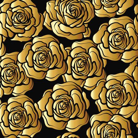 バラの花のシームレスなパターン。黒の背景に金のバラ。St