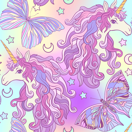 Unicorn with multicolored mane, butterfly rainbow, star and love Фото со стока - 86868455