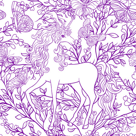 Unicorn with multicolored mane and roses flowers. Seamless patte Иллюстрация