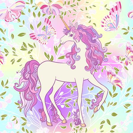 유니콘, 여러 가지 빛깔 된 갈기, 나비 무지개, 별과 사랑 일러스트