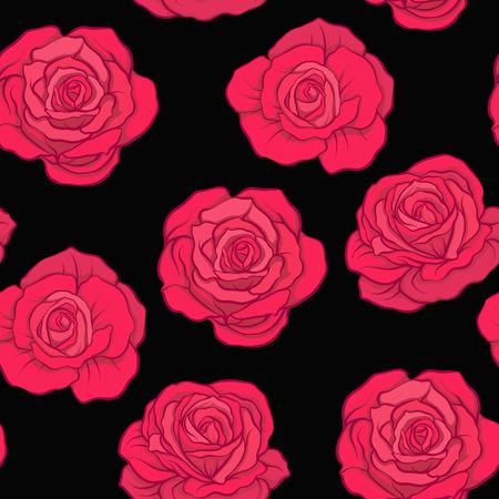 검은 색 바탕에 빨간 장미와 원활한 패턴입니다. 주식 vecto