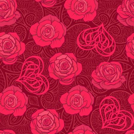 Naadloze patroon met rode rozen en liefde hart op achtergrond wit