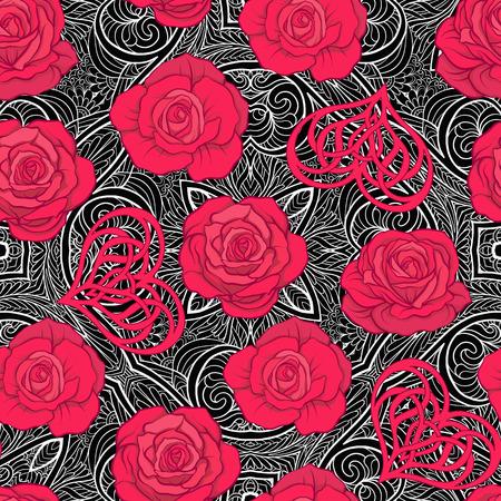 Nahtloses Muster mit roten Rosen und Liebesherzen auf Hintergrundesprit Standard-Bild - 86616746