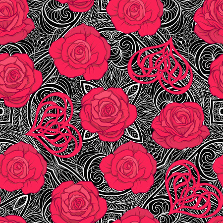 Seamless pattern with red roses and love heart on background wit 向量圖像