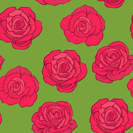 緑の背景に赤のバラでシームレスなパターン。株式ベクトル