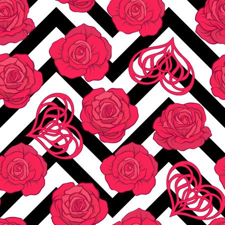 赤いバラと背景のウィットの愛心とシームレスなパターン  イラスト・ベクター素材