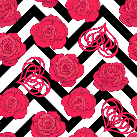 Seamless pattern with red roses and love heart on background wit Ilustração