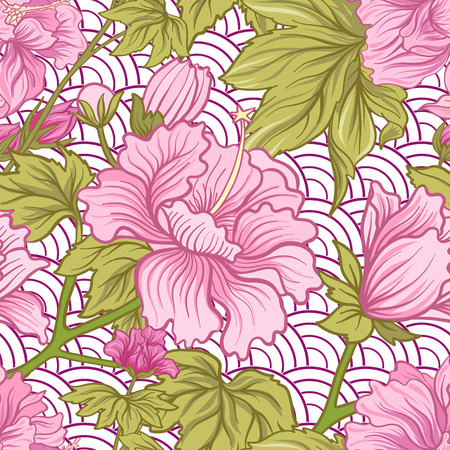 Seamless pattern with pink peony in Japanese style. Vector stock Illustration