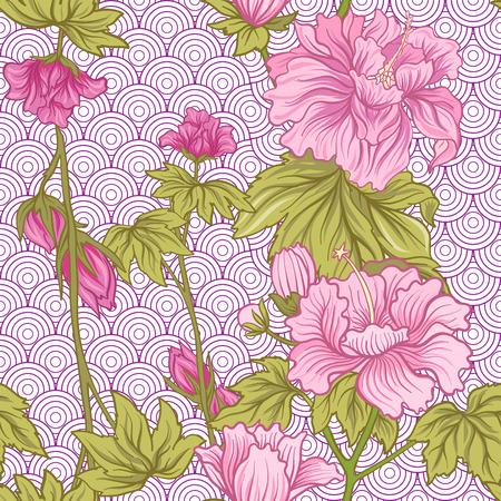 일본 스타일에 분홍색 모란와 원활한 패턴입니다. 벡터 주식