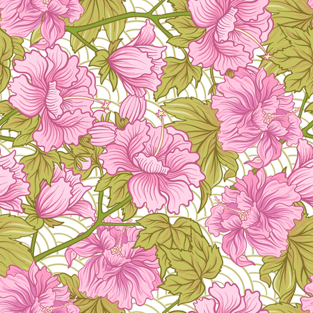 Seamless pattern with pink peony in Japanese style. Vector stock Ilustracja