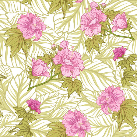Seamless pattern with pink peony in Japanese style. Vector stock Çizim