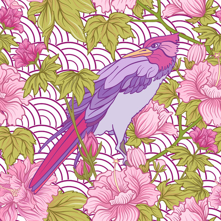 Seamless pattern with pink peony and bird in Japanese style. Vec Illustration