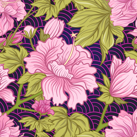 Seamless pattern with pink peony in Japanese style. Vector stock Vettoriali