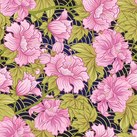 Seamless pattern with pink peony in Japanese style. Vector stock  イラスト・ベクター素材