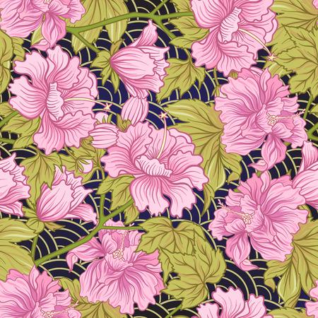Seamless pivoine rose dans le style japonais . vector illustration Banque d'images - 86551115