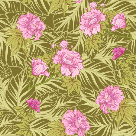Seamless pattern with pink peony in Japanese style. Vector stock 向量圖像