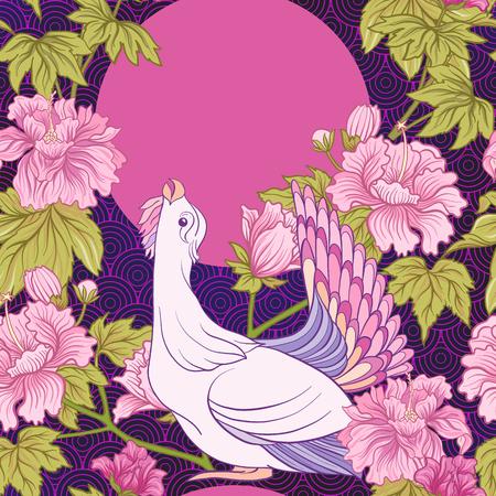 Seamless pivoine rose et oiseau dans le style japonais . vec Banque d'images - 86551117