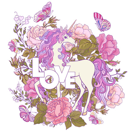 Unicorn and a bouquet of roses.
