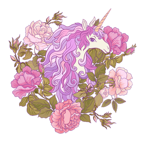 The unicorn, a bouquet of roses and butterflies on white . Composition for a card, poster, banner. Иллюстрация
