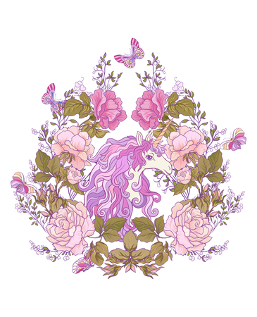 The unicorn, a bouquet of roses and butterflies on white background. Composition for a card, poster, banner. Stock vector.