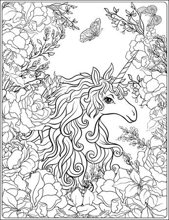 Unicorn. The composition consists of a unicorn surrounded by a b Фото со стока - 86631599