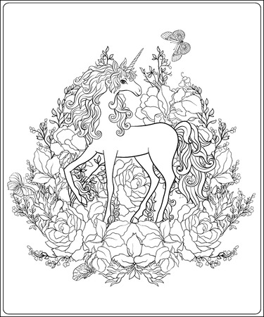 Unicorn. The composition consists of a unicorn surrounded by a bouquet of roses. Outline hand drawing coloring page for adult coloring book.  Stock vector.