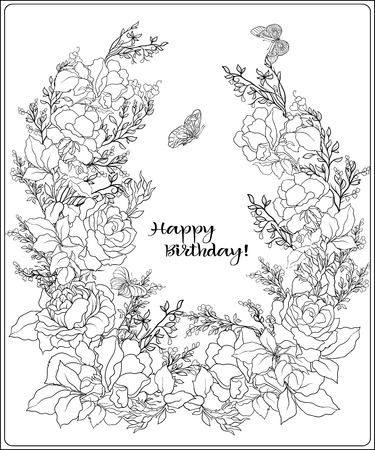 バラの花束と蝶の組成物。漢を概要します。