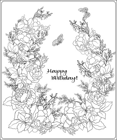 The composition of bouquet of roses and butterflies. Outline han 版權商用圖片 - 86631605