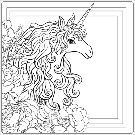 Unicorn. The composition consists of a unicorn surrounded by a b