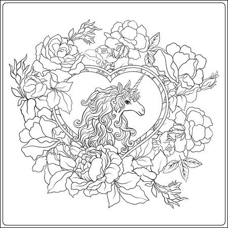일각수. 구성은 장미 꽃다발로 둘러싸인 유니콘으로 구성됩니다. 성인 색칠 공부를위한 손 그리기 착색 페이지 개요. 주식 벡터입니다.