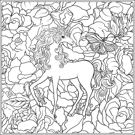 Unicorn. The composition consists of a unicorn surrounded by a bouquet of roses.
