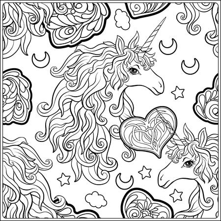 Einhorn . Die Komposition besteht aus einem Einhorn , umgeben von einem Rosenstrauß Standard-Bild - 86631618
