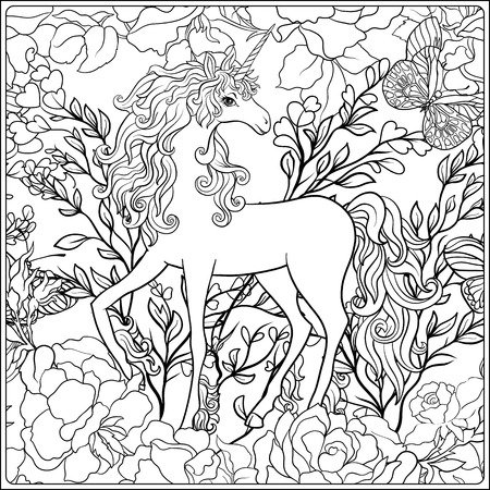 The composition consists of a unicorn surrounded by a bouquet of roses.