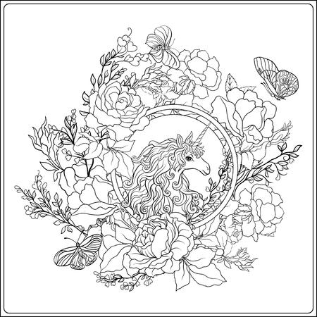 Einhorn. Die Komposition besteht aus einem Einhorn, umgeben von einem Standard-Bild - 86631624