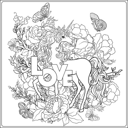 Unicorn. The composition consists of a unicorn surrounded by roses 版權商用圖片 - 86801807